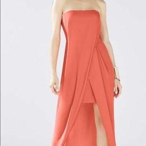 Strapless coral bcbg dress.